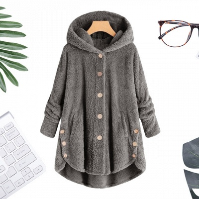 Long women's coat winter | Gray women's coats cheap_3