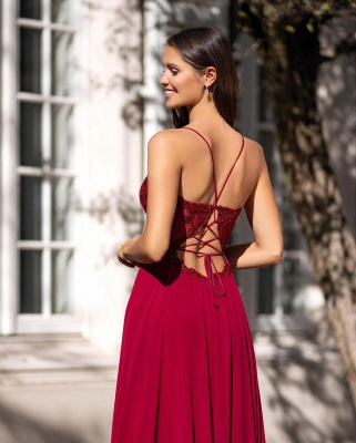 Simple evening dresses with lace | Red evening wear online_2