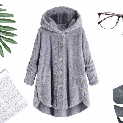 Long women's coat winter | Gray women's coats cheap_7