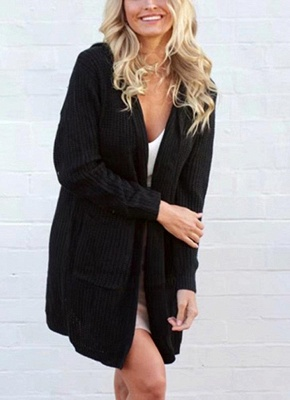 Knitted sweaters women coats | Black ladies coat_1