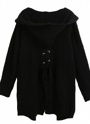 Knitted sweaters women coats | Black ladies coat_6