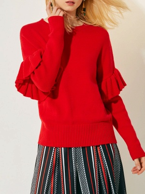 Hoodie Print Sweatshirt Red | Knit sweater women_6