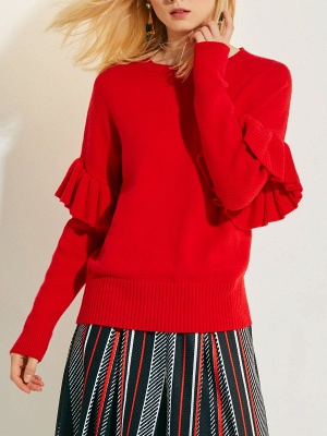 Hoodie Print Sweatshirt Red | Knit sweater women_1