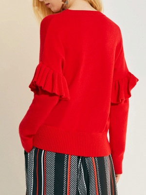 Hoodie Print Sweatshirt Red | Knit sweater women_3