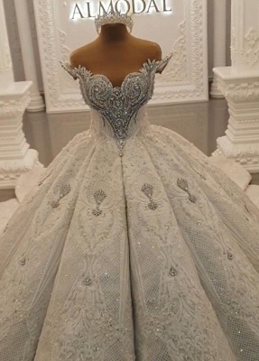Luxurious Weiße Brautkleider Spitze Prinzessin Hochzeitskleider Brautmoden_1