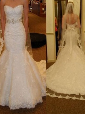 Designer White Wedding Dresses Lace Crystal Wedding Gowns Cheap_1