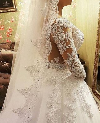 Designer Wedding Dresses With Lace Crystal Wedding Dresses With Sleeves Online_3
