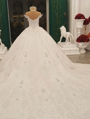 Luxurious Weiße Brautkleider Spitze Prinzessin Hochzeitskleider Brautmoden_4