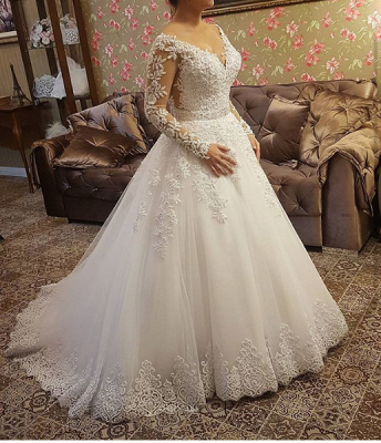 Designer Wedding Dresses With Lace Crystal Wedding Dresses With Sleeves Online_2