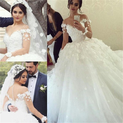 Buy Designer Wedding Dresses Long Sleeves White Lace Princess Wedding Dresses Wedding Dress_2
