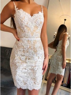 Fashion White Party Dresses Cocktail Dresses Lace Evening Dresses Short Cheap_2