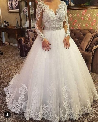 Designer Wedding Dresses With Lace Crystal Wedding Dresses With Sleeves Online_1