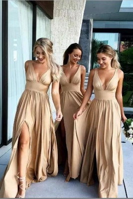 Champagne long bridesmaid dresses cheap sheath dresses for bridesmaids online_1
