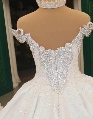 Luxurious Weiße Brautkleider Spitze Prinzessin Hochzeitskleider Brautmoden_3