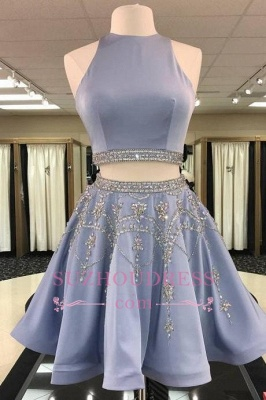 2 Teilig Günstige Cocktailkleider Blau A Linie Abendkleider Kurz Elegant_1