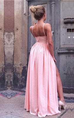Pink prom dresses long cheap online satin evening dress shift dress_3