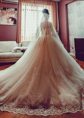 Ball Gown White Wedding Dresses Lace Long Sleeves Tulle Wedding Dresses Bridal_2