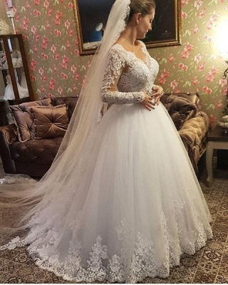 Designer Wedding Dresses With Lace Crystal Wedding Dresses With Sleeves Online_4