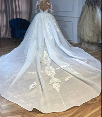 Luxury wedding dresses A line lace | Bridal wear with sleeves_4