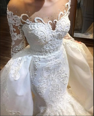Luxury wedding dresses A line lace | Bridal wear with sleeves_3