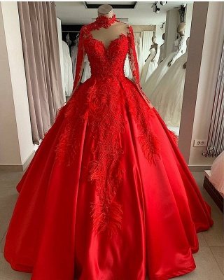Luxury evening dresses with sleeves | Red Evening Wear Prom Dresses Online_1