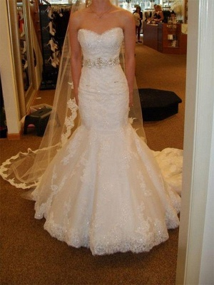Designer White Wedding Dresses Lace Crystal Wedding Gowns Cheap_2
