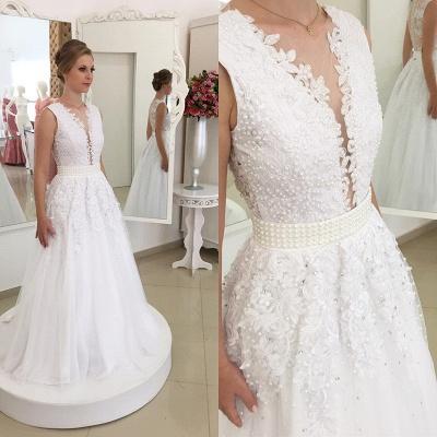 A Linie Brautkleider Spitze Weiß Mit Perlen Günstig Hochzeitskleider Nachmaße Machen_2