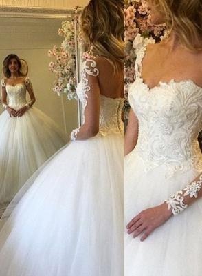 Elegante Brautkleider Lang Ärmel Weiß Spitze Prinzessin Hochzeitskleider Brautmoden_1