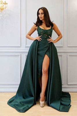 Designer Abank Dresses Long Green | Evening wear with lace_4