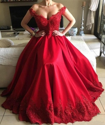 Designer Evening Dresses Long Red Lace A Line Floor Length Evening Wear Prom Dress_1