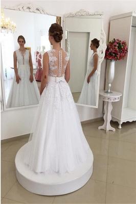 A Linie Brautkleider Spitze Weiß Mit Perlen Günstig Hochzeitskleider Nachmaße Machen_4