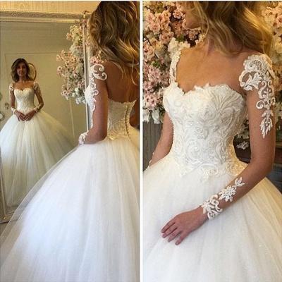 Elegante Brautkleider Lang Ärmel Weiß Spitze Prinzessin Hochzeitskleider Brautmoden_2