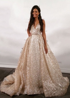 Designer Glitter Wedding Dresses Cheap | A line wedding dress V neckline_1