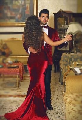 Wine red evening dresses long cheap velvet mermaid prom dresses party dresses_2