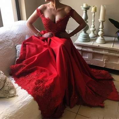 Designer Evening Dresses Long Red Lace A Line Floor Length Evening Wear Prom Dress_3