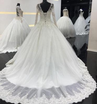 Schlichte Weiße Brautkleider Mit Ärmel A Line Hochzeitskleider Spitze Günstig_2