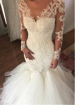 Extravagante Brautkleider Spitze | Hochzeitskleider Mit Ärmel Meerjungfrau_1