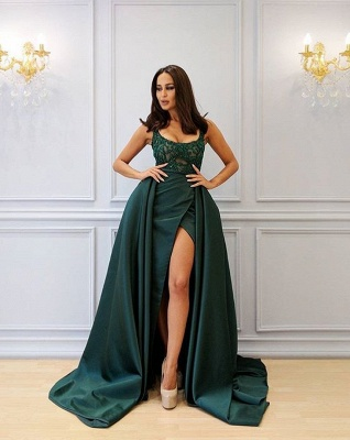 Designer Abank Dresses Long Green | Evening wear with lace_1