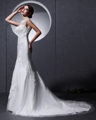 Modern White Wedding Dresses Lace Straps Tulle Bridal Wedding Dresses Cheap_2