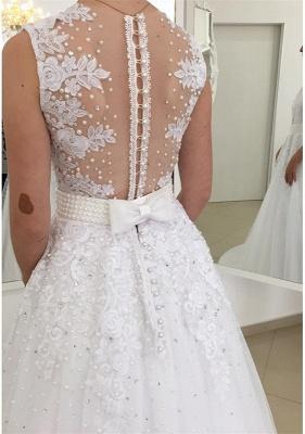 A Linie Brautkleider Spitze Weiß Mit Perlen Günstig Hochzeitskleider Nachmaße Machen_3