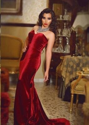 Wine red evening dresses long cheap velvet mermaid prom dresses party dresses_1