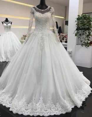 Schlichte Weiße Brautkleider Mit Ärmel A Line Hochzeitskleider Spitze Günstig_1
