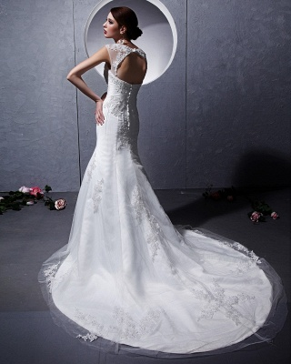 Modern White Wedding Dresses Lace Straps Tulle Bridal Wedding Dresses Cheap_4