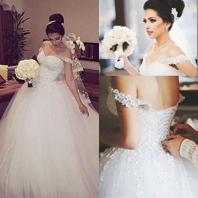 Ball Gown Wedding Dresses White With Lace Princess Wedding Dresses Online_2