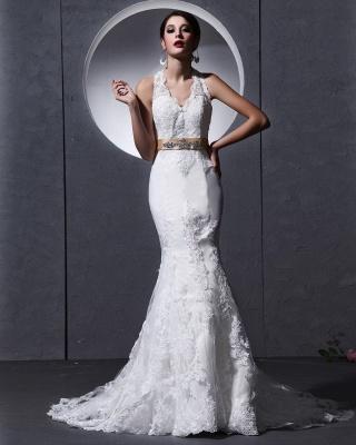 Elegante Weiß Brautkleider Spitze Neckholder Meerjungfrau Brautmoden Hochzeitskleider_5