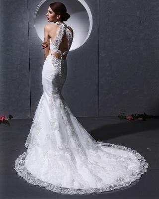 Elegante Weiß Brautkleider Spitze Neckholder Meerjungfrau Brautmoden Hochzeitskleider_4