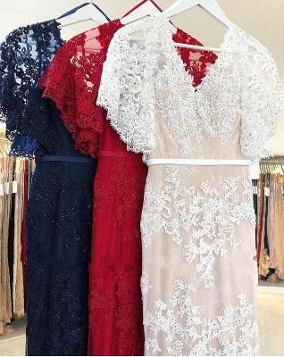 Elegante Abendkleider Lang Rot | Abendmoden Spitze mit Ärmel_4
