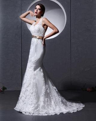 Elegante Weiß Brautkleider Spitze Neckholder Meerjungfrau Brautmoden Hochzeitskleider_2