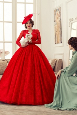 Red Wedding Dresses Long Sleeves Lace Princess Bridal Wedding Dresses Cheap_1