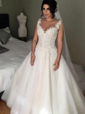 Elegante Brautkleider A Linie Mit Spitze Tülle Hochzeitskleider Zur Hochzeit_1
